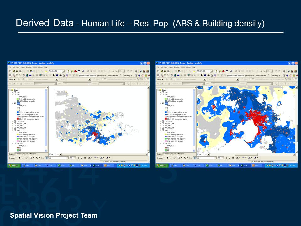 Spatial Vision Project Team Derived Data - Human Life – Res. Pop. (ABS & Building density)