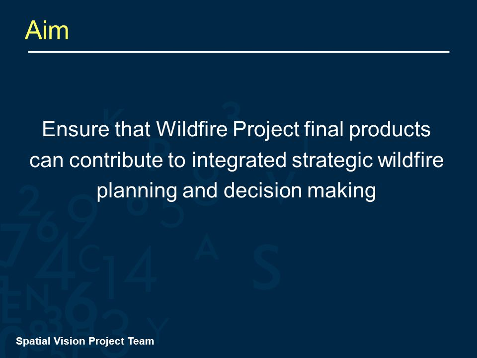 Spatial Vision Project Team Aim Ensure that Wildfire Project final products can contribute to integrated strategic wildfire planning and decision making