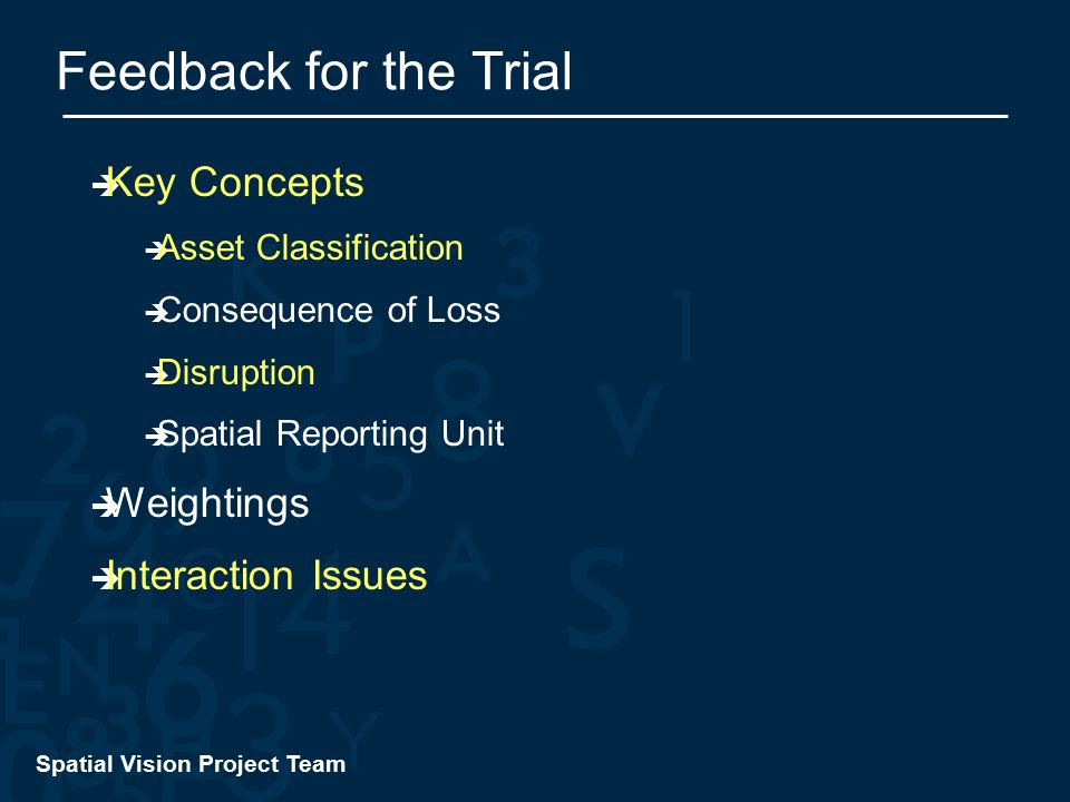 Spatial Vision Project Team Feedback for the Trial  Key Concepts  Asset Classification  Consequence of Loss  Disruption  Spatial Reporting Unit  Weightings  Interaction Issues
