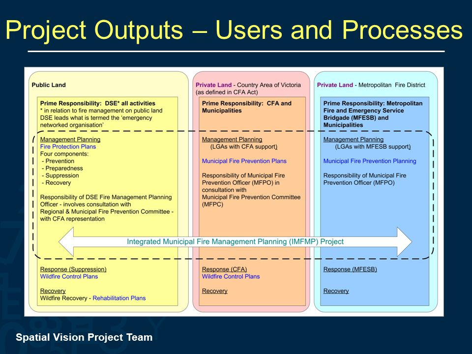 Spatial Vision Project Team Project Outputs – Users and Processes