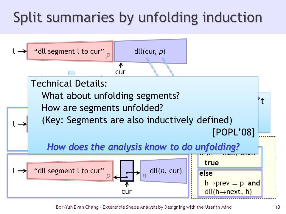 13 Split summaries by unfolding induction Ç dll(h, p) = if (h = null) then true else h ! prev = p and dll(h ! next, h) Bor-Yuh Evan Chang - Extensible