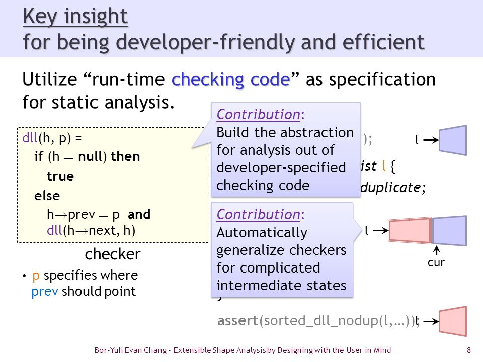 """8 Key insight for being developer-friendly and efficient checking code Utilize """"run-time checking code"""" as specification for static analysis. assert(s"""