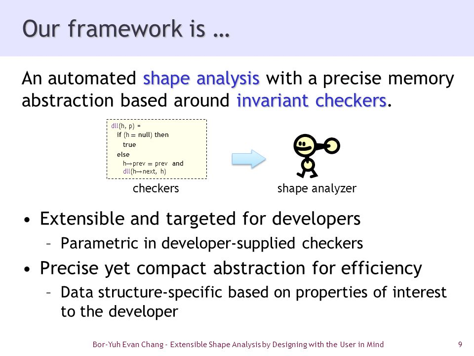 9 Our framework is … Extensible and targeted for developers –Parametric in developer-supplied checkers Precise yet compact abstraction for efficiency –Data structure-specific based on properties of interest to the developer shape analysis invariant checkers An automated shape analysis with a precise memory abstraction based around invariant checkers.