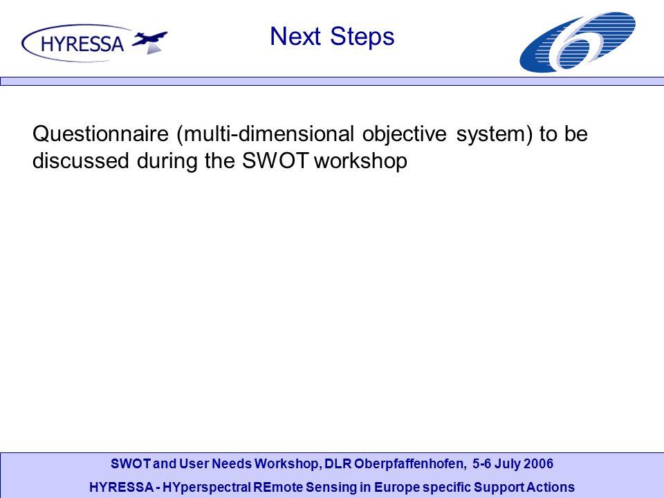 SWOT and User Needs Workshop, DLR Oberpfaffenhofen, 5-6 July 2006 HYRESSA - HYperspectral REmote Sensing in Europe specific Support Actions Next Steps