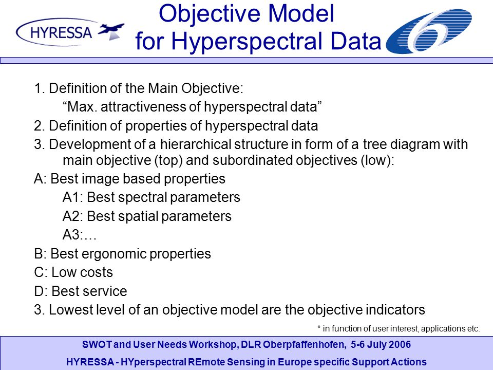 SWOT and User Needs Workshop, DLR Oberpfaffenhofen, 5-6 July 2006 HYRESSA - HYperspectral REmote Sensing in Europe specific Support Actions Objective
