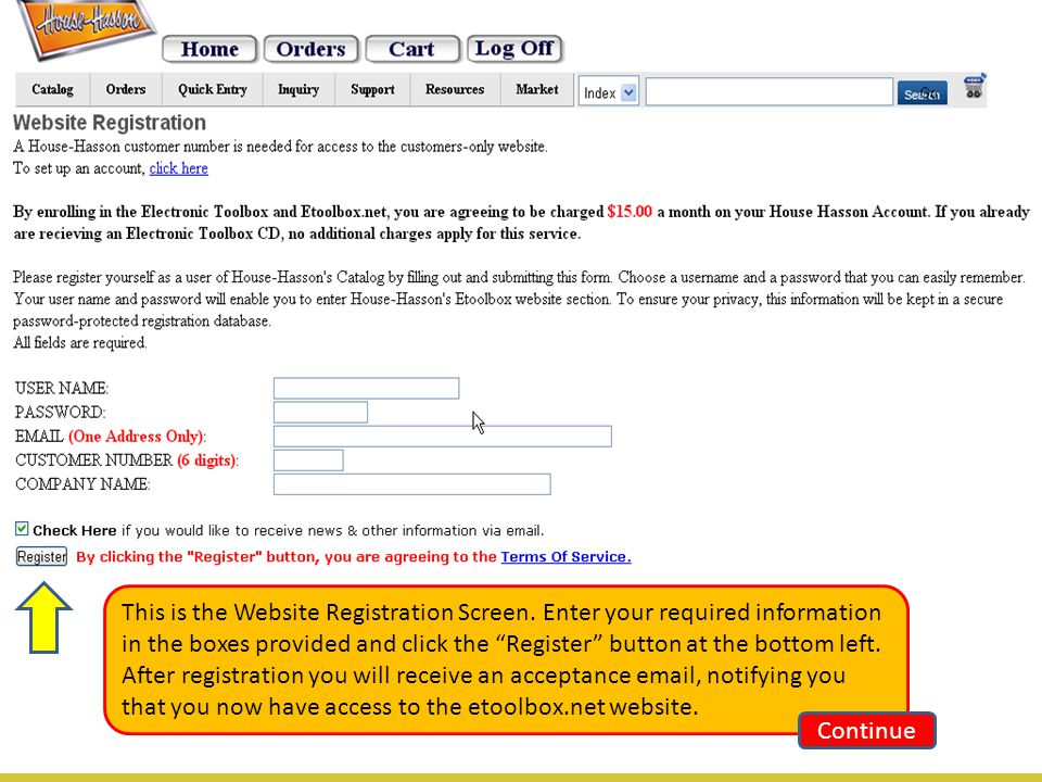 This is the Website Registration Screen.