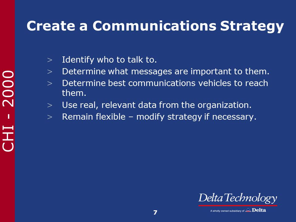 CHI - 2000 Create a Communications Strategy > Identify who to talk to.