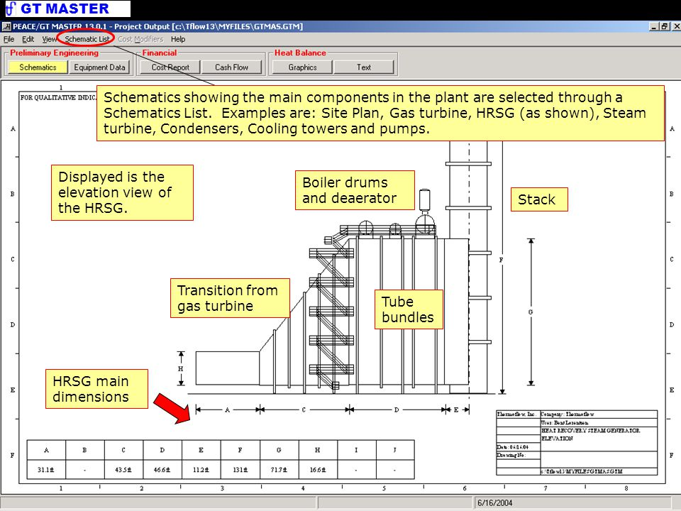 GT MASTER PEACE Output - Schematics Boiler drums and deaerator Transition from gas turbine Stack HRSG main dimensions Displayed is the elevation view