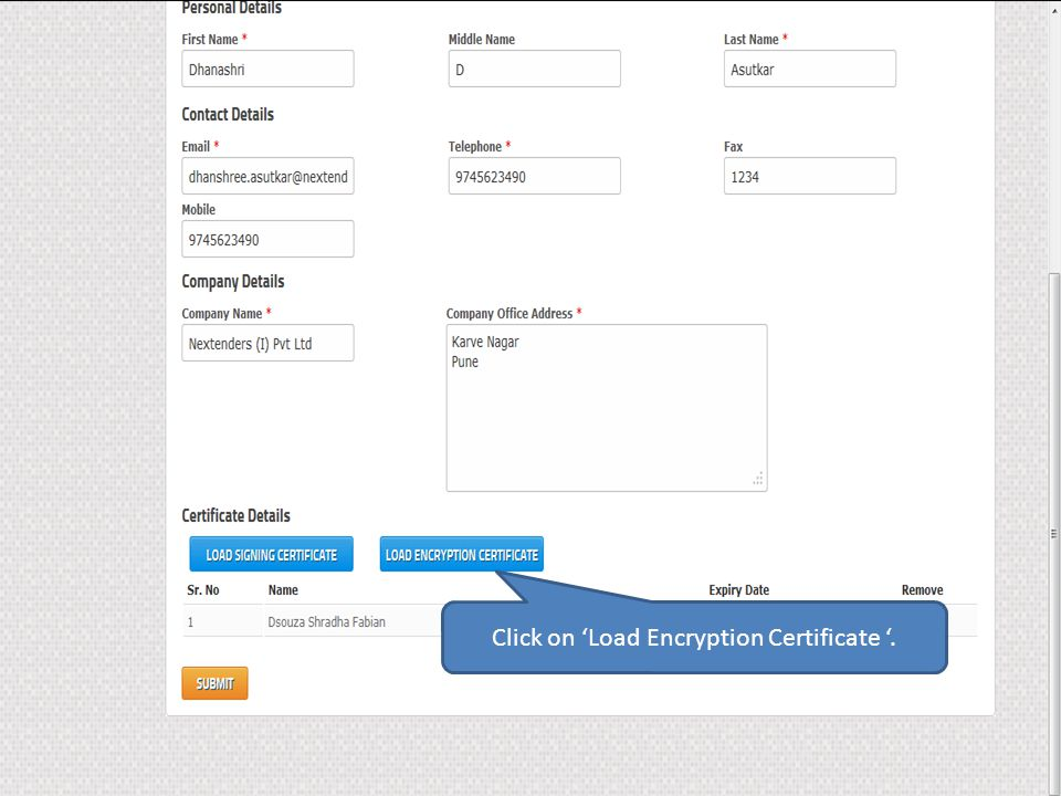 Click on 'Load Encryption Certificate '.