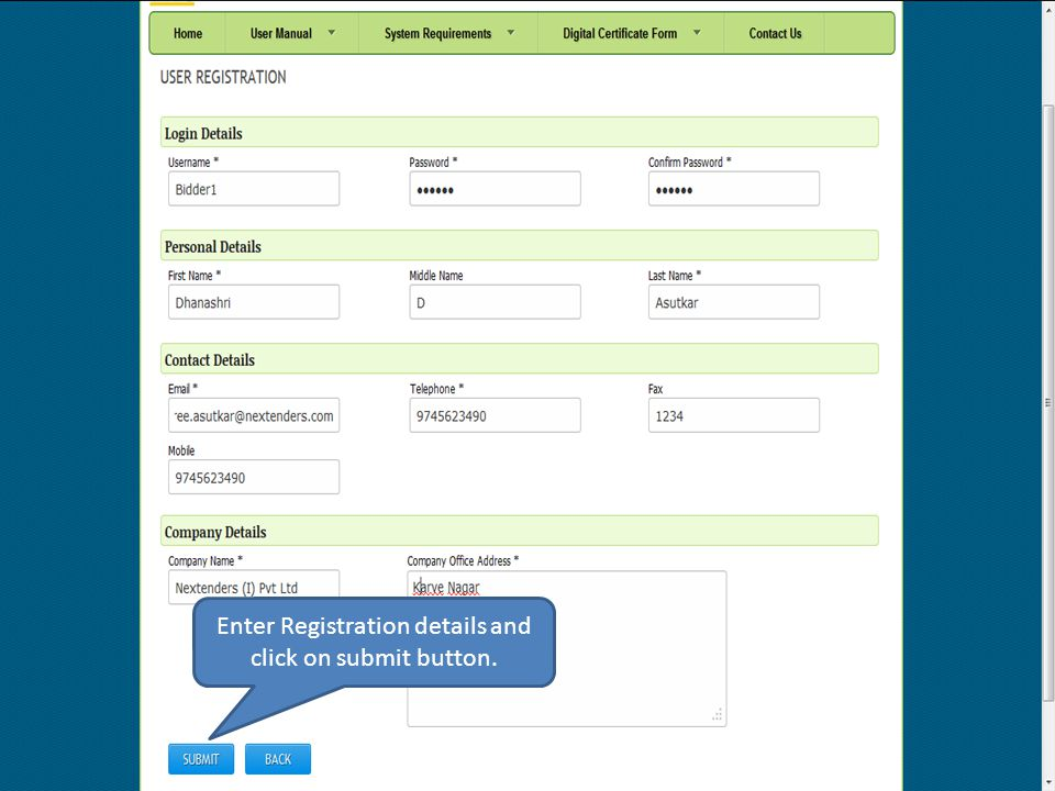 User sign up successfully.
