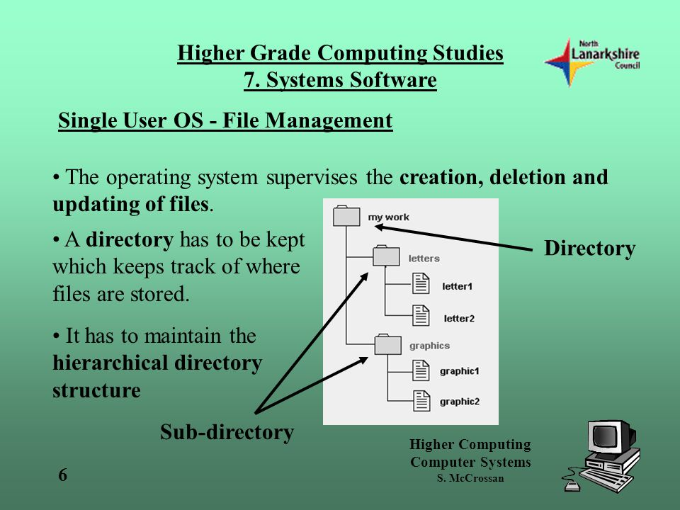 Higher Computing Computer Systems S.McCrossan Higher Grade Computing Studies 7.