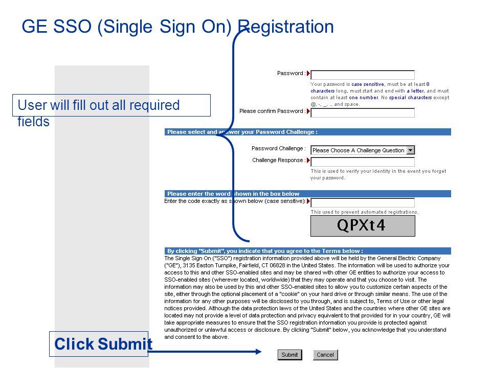 GE SSO (Single Sign On) Registration