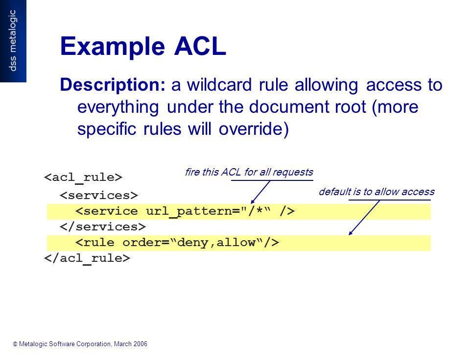 © Metalogic Software Corporation, March 2006 fire this ACL for all requests default is to allow access Example ACL Description: a wildcard rule allowing access to everything under the document root (more specific rules will override)