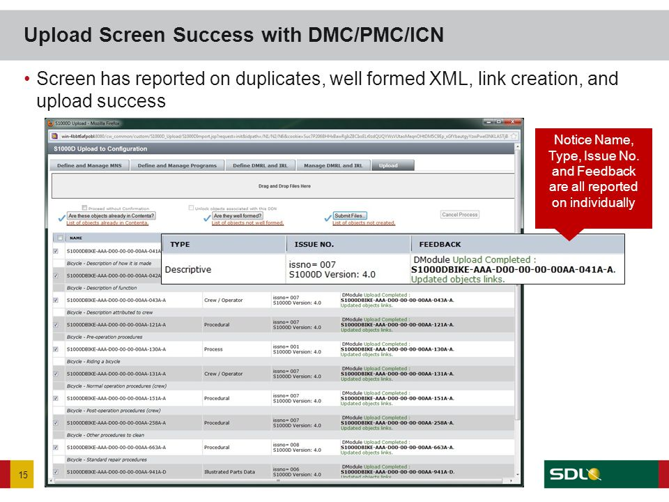 Screen has reported on duplicates, well formed XML, link creation, and upload success Upload Screen Success with DMC/PMC/ICN 15 Notice Name, Type, Iss