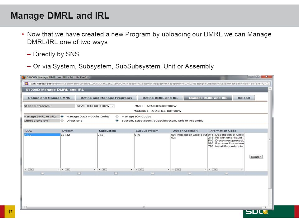 Now that we have created a new Program by uploading our DMRL we can Manage DMRL/IRL one of two ways –Directly by SNS –Or via System, Subsystem, SubSub