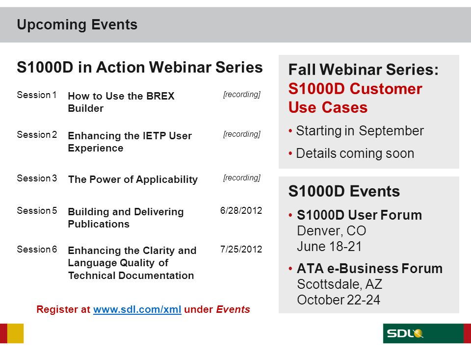 Upcoming Events Fall Webinar Series: S1000D Customer Use Cases Starting in September Details coming soon S1000D in Action Webinar Series Session 1 How