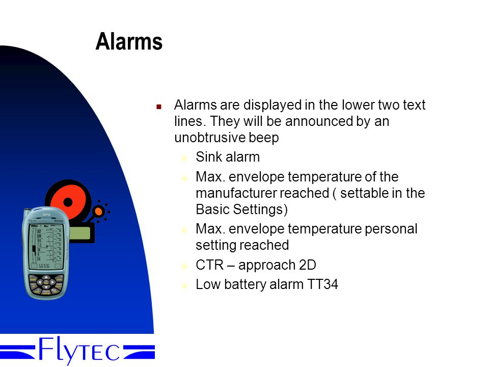 Presentation Flytec 604010 Alarms Alarms are displayed in the lower two text lines.