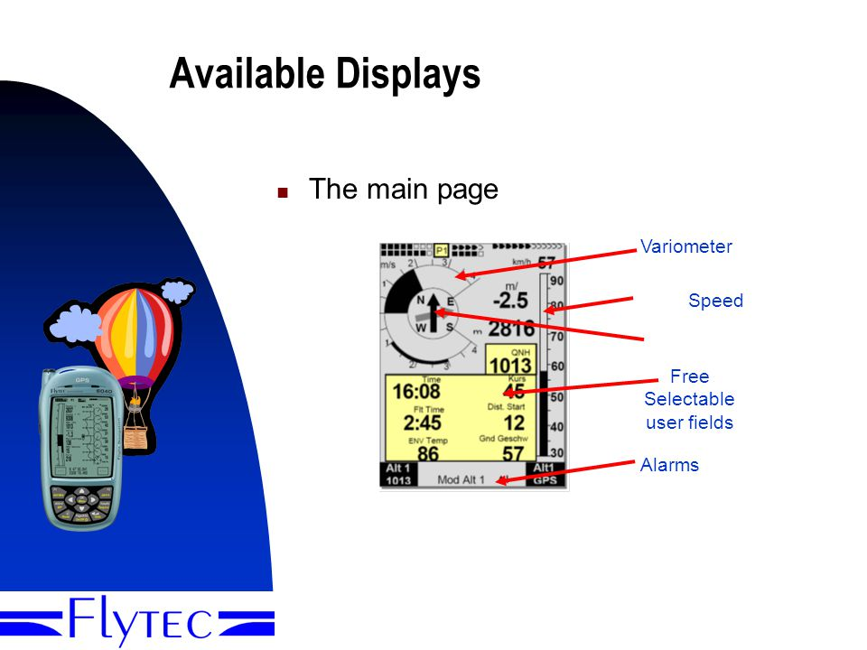 Presentation Flytec 60402 Available Displays The main page Variometer GPS Compass Free Selectable user fields Alarms and Info GND Speed