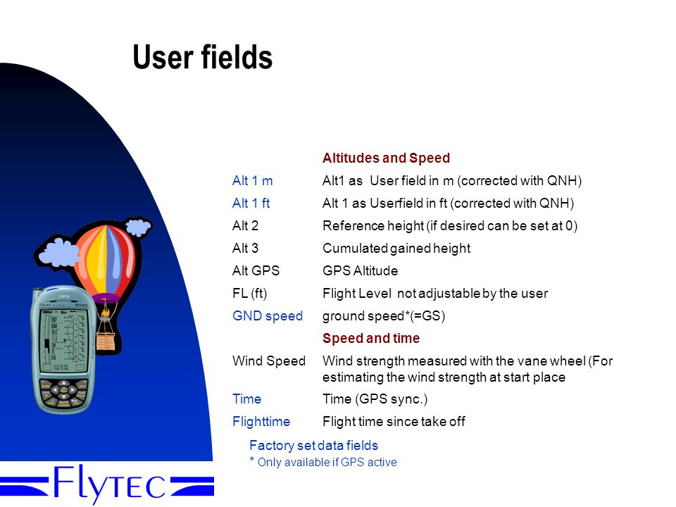 Presentation Flytec 60408 User fields Altitudes and Speed Alt 1 mAlt1 as User field in m (corrected with QNH) Alt 1 ftAlt 1 as Userfield in ft (corrected with QNH) Alt 2Reference height (if desired can be set at 0) Alt 3Cumulated gained height Alt GPSGPS Altitude FL (ft)Flight Level not adjustable by the user GND speedground speed*(=GS) Speed and time Wind SpeedWind strength measured with the vane wheel (For estimating the wind strength at start place TimeTime (GPS sync.) FlighttimeFlight time since take off Factory set data fields * Only available if GPS active The factory set data fields can be personalized You can chose between three pages with different sets of data fields on each page