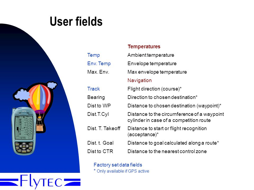 Presentation Flytec 60409 User fields Temperatures TempAmbient temperature Env.