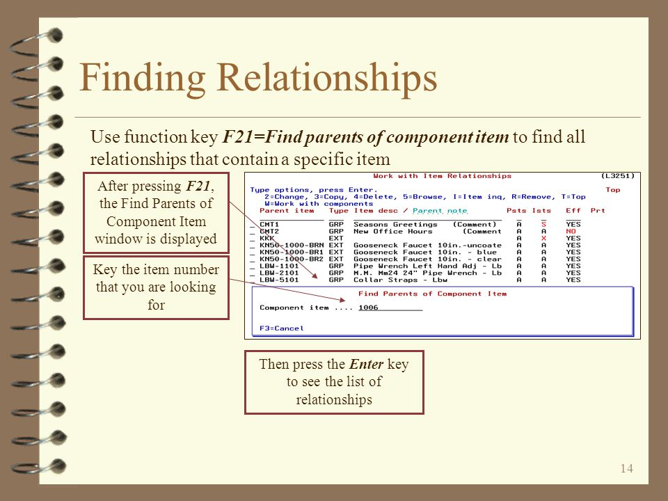 13 Finding Relationships Displaying parents that contain a specific character string in their keyed note data field Key the specific character string that you are looking for All parents whose keyed note data contains the keyed character string are displayed
