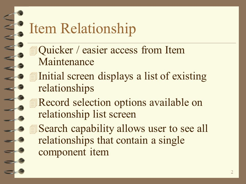 User Friendly Item Relationship Maintenance A Family of Enhancements For iSeries 400 DMAS from  Copyright I/O International, 2006, 2007, 2008, 2010 Skip Intro Exit