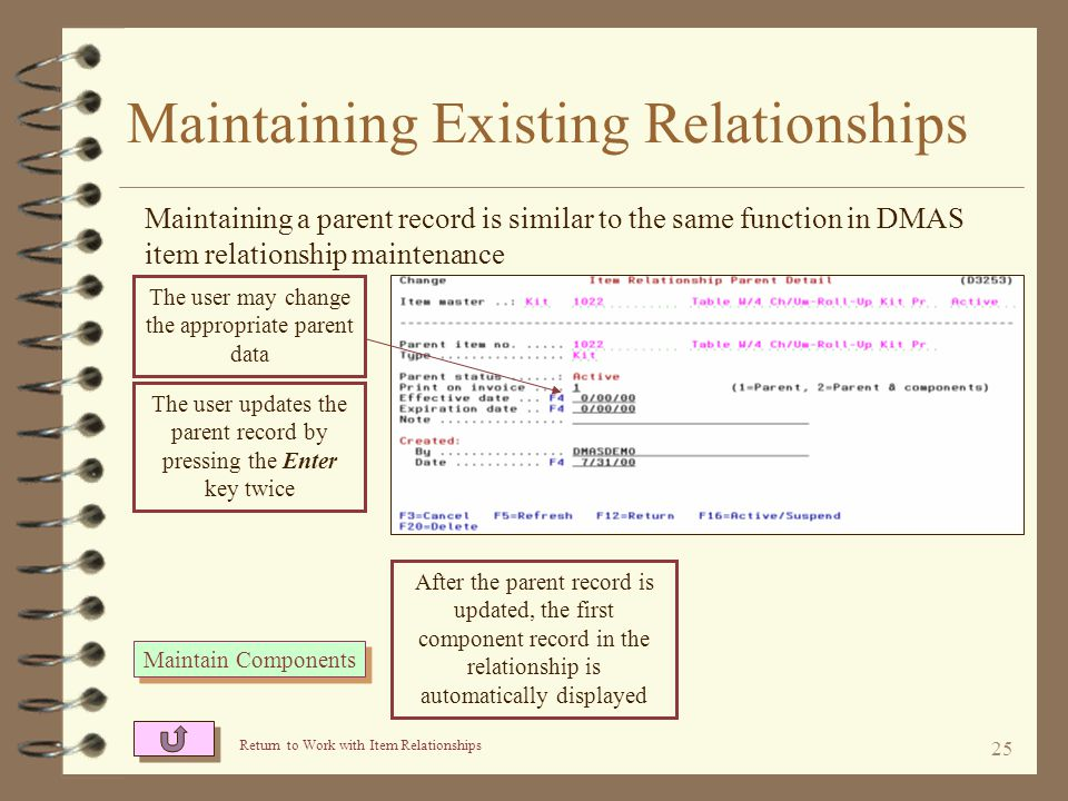 24 Maintaining Existing Relationships The user finds the relationship to be maintained on the Work with Item Relationship screen (L3251) Option 2 is used to maintain parents The item master for the parent item number keyed is not required to exist in the item master file in order to establish the relationship Option W is used to list the components Return to Item Relationship Summary 2=Change header 2=Change header W=Work with components W=Work with components