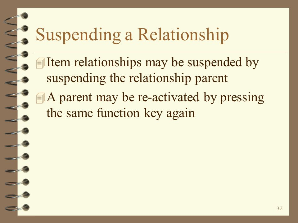 31 Copying a Relationship The user may create a new relationship by copying an existing relationship of any type Option 3 is used to create a new relationship by copying an existing relationship Return to Item Relationship Summary When copying a relationship, a window is displayed in which the user identifies the relationship being created