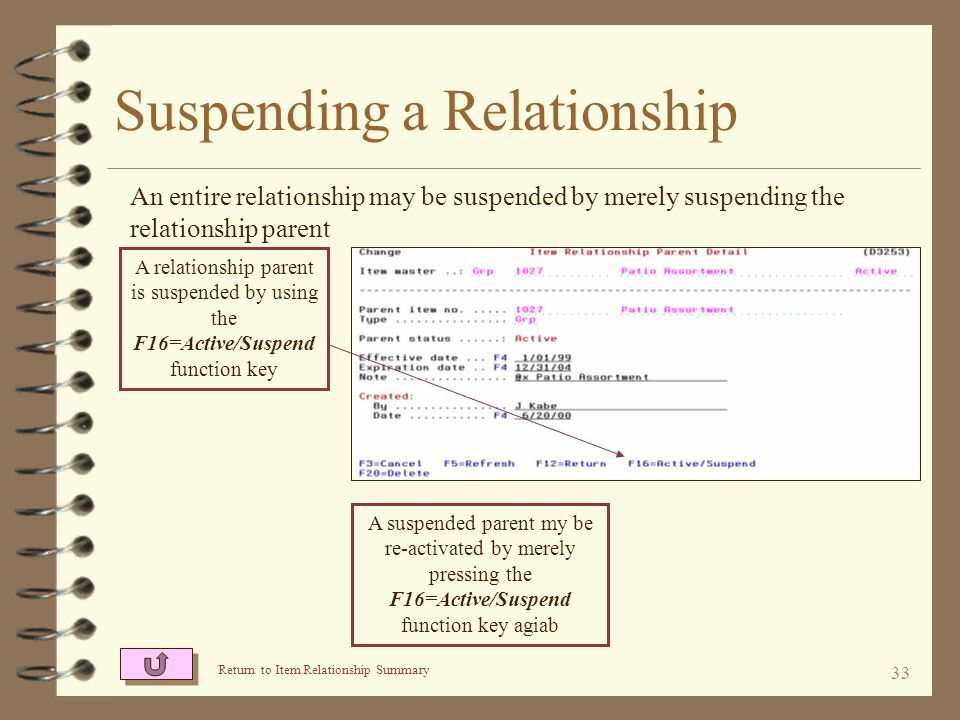 32 Suspending a Relationship 4 Item relationships may be suspended by suspending the relationship parent 4 A parent may be re-activated by pressing the same function key again