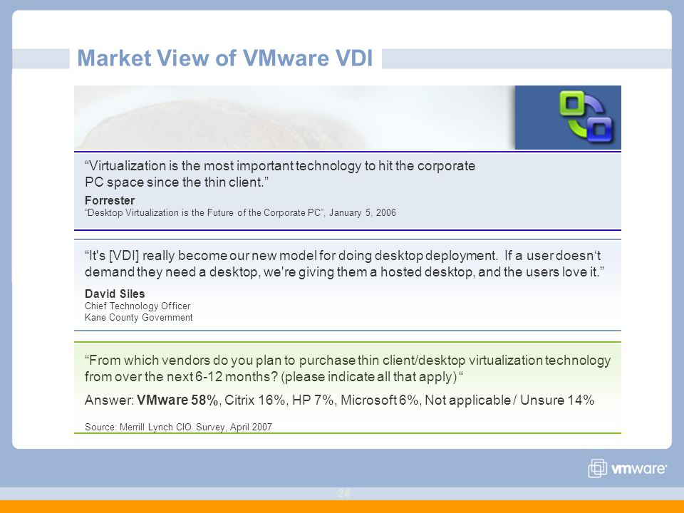 24 Market View of VMware VDI Virtualization is the most important technology to hit the corporate PC space since the thin client. Forrester Desktop Virtualization is the Future of the Corporate PC , January 5, 2006 It s [VDI] really become our new model for doing desktop deployment.