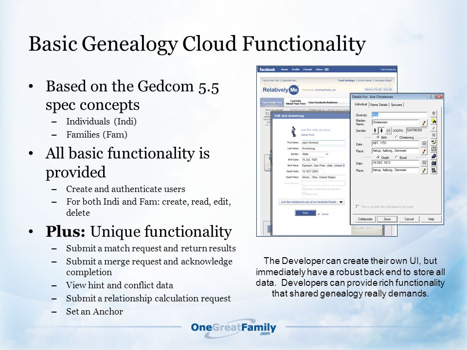 Basic Genealogy Cloud Functionality Based on the Gedcom 5.5 spec concepts – Individuals (Indi) – Families (Fam) All basic functionality is provided – Create and authenticate users – For both Indi and Fam: create, read, edit, delete Plus: Unique functionality – Submit a match request and return results – Submit a merge request and acknowledge completion – View hint and conflict data – Submit a relationship calculation request – Set an Anchor The Developer can create their own UI, but immediately have a robust back end to store all data.