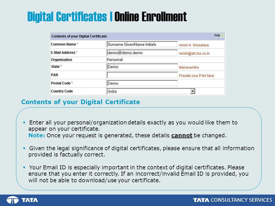  Enter all your personal/organization details exactly as you would like them to appear on your certificate.