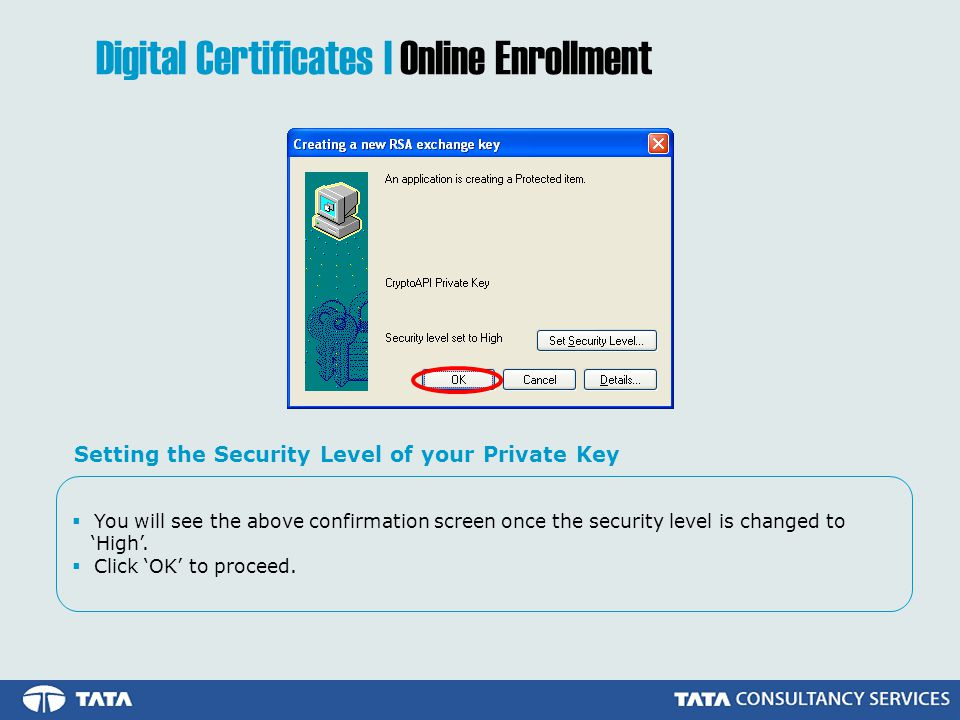  You will see the above confirmation screen once the security level is changed to 'High'.