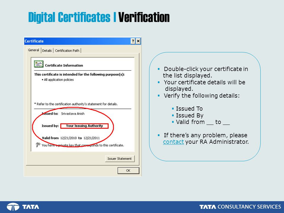  Double-click your certificate in the list displayed.