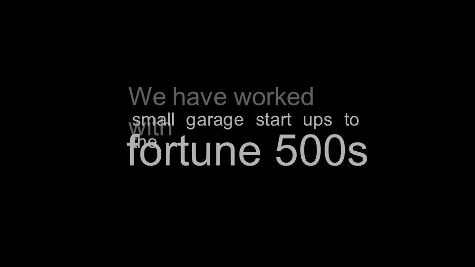 We have worked with fortune 500s small garage start ups to the