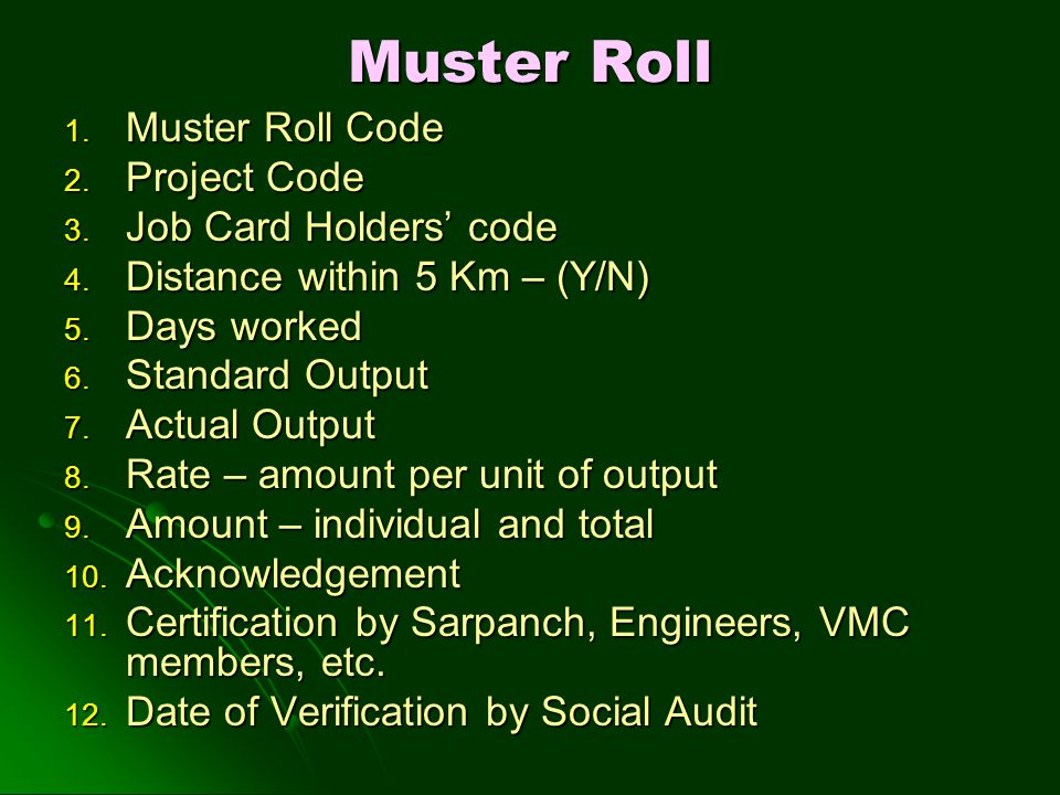 Muster Roll 1. Muster Roll Code 2. Project Code 3. Job Card Holders' code 4. Distance within 5 Km – (Y/N) 5. Days worked 6. Standard Output 7. Actual