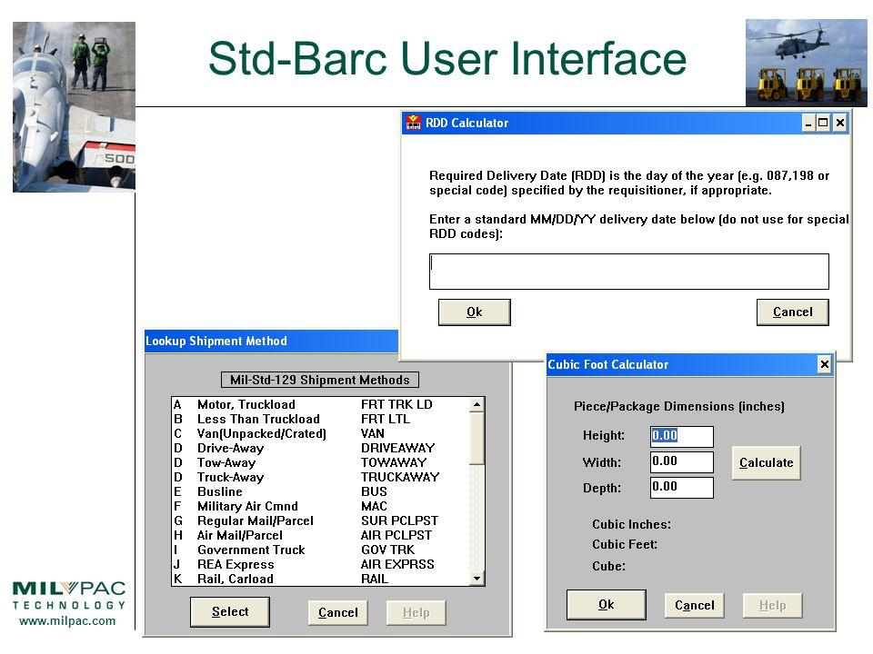 www.milpac.com Std-Barc User Interface