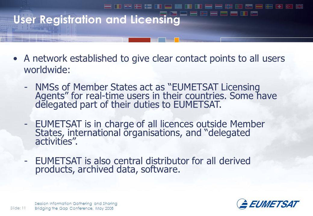 Slide: 11 Session Information Gathering and Sharing Bridging the Gap Conference, May 2008 User Registration and Licensing A network established to giv