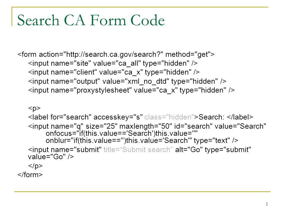 5 Search CA Form Code Search: