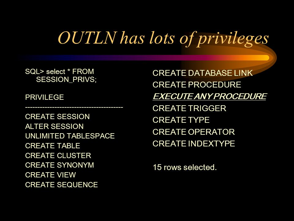 OUTLN has lots of privileges SQL> select * FROM SESSION_PRIVS; PRIVILEGE ---------------------------------------- CREATE SESSION ALTER SESSION UNLIMITED TABLESPACE CREATE TABLE CREATE CLUSTER CREATE SYNONYM CREATE VIEW CREATE SEQUENCE CREATE DATABASE LINK CREATE PROCEDURE EXECUTE ANY PROCEDURE CREATE TRIGGER CREATE TYPE CREATE OPERATOR CREATE INDEXTYPE 15 rows selected.