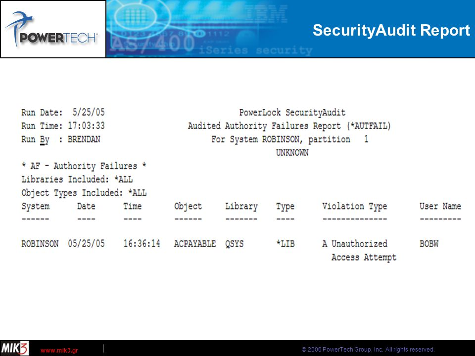 © 2006 PowerTech Group, Inc. All rights reserved. www.mik3.gr SecurityAudit Report