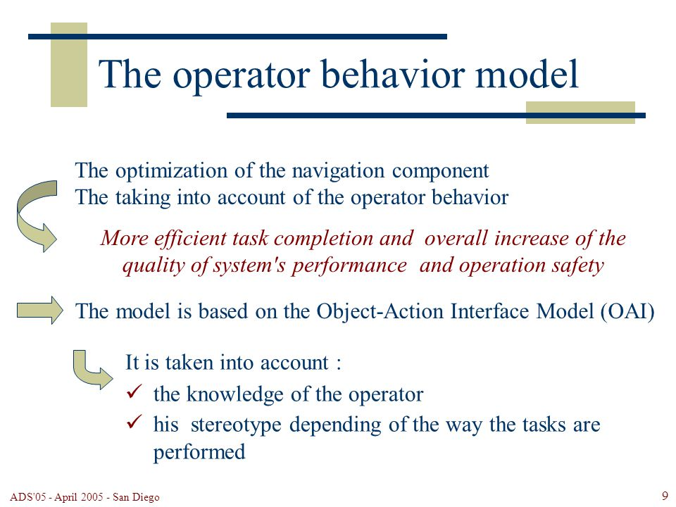 ADS 05 - April 2005 - San Diego 9 The operator behavior model The model is based on the Object-Action Interface Model (OAI) It is taken into account : the knowledge of the operator his stereotype depending of the way the tasks are performed The optimization of the navigation component The taking into account of the operator behavior More efficient task completion and overall increase of the quality of system s performance and operation safety
