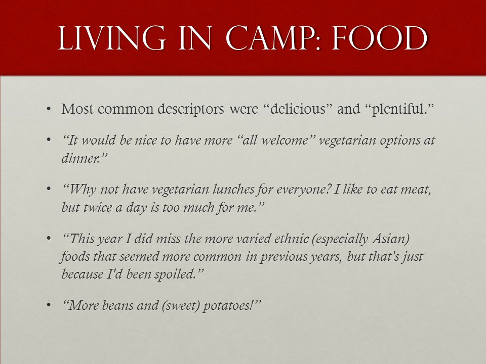 "Living in Camp: Food Most common descriptors were ""delicious"" and ""plentiful.""Most common descriptors were ""delicious"" and ""plentiful."" ""It would be n"