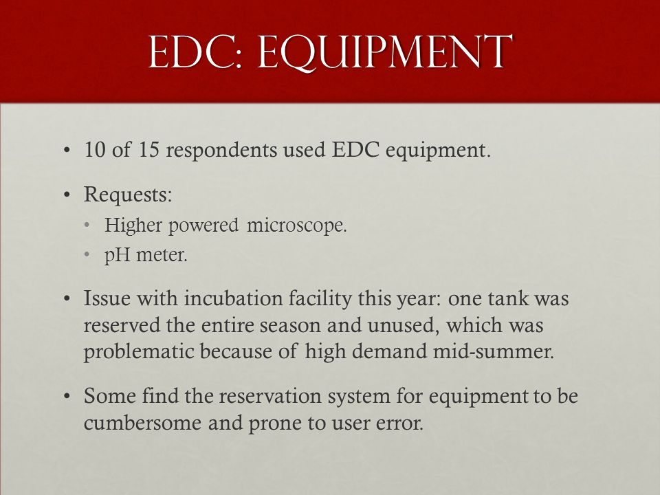 EDC: Equipment 10 of 15 respondents used EDC equipment.10 of 15 respondents used EDC equipment. Requests:Requests: Higher powered microscope.Higher po