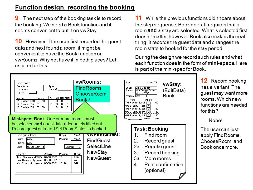 Function design, recording the booking 9 The next step of the booking task is to record the booking.