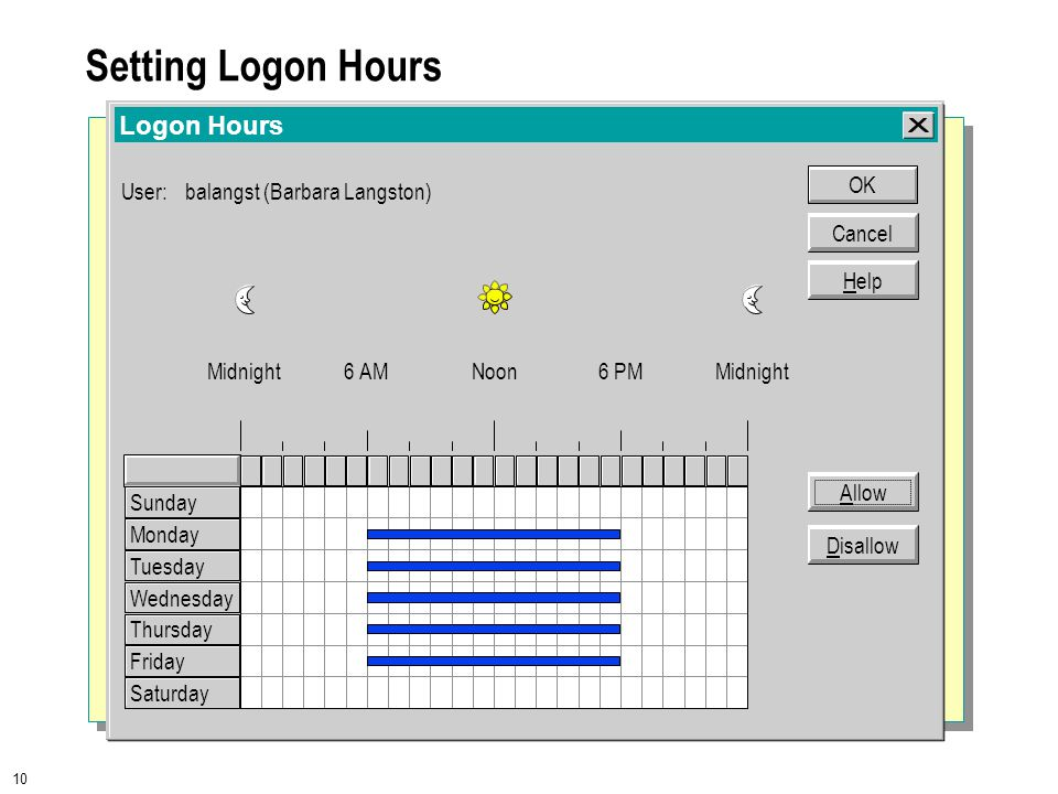 10 Setting Logon Hours Logon Hours User:balangst (Barbara Langston) Cancel OK Help Midnight6 AMNoon6 PMMidnight Allow Disallow Sunday Monday Tuesday Wednesday Thursday Friday Saturday