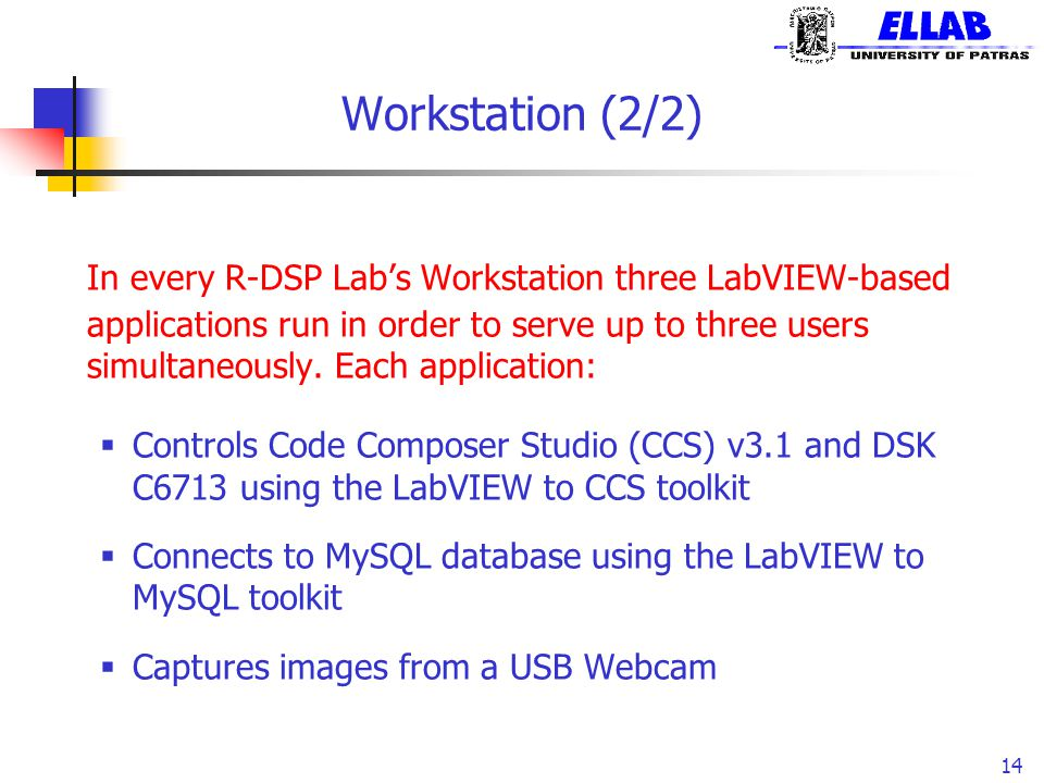 Workstation (2/2) In every R-DSP Lab's Workstation three LabVIEW-based applications run in order to serve up to three users simultaneously. Each appli