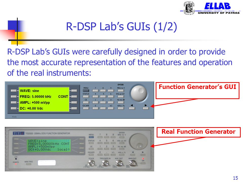 R-DSP Lab's GUIs (1/2) 15 R-DSP Lab's GUIs were carefully designed in order to provide the most accurate representation of the features and operation