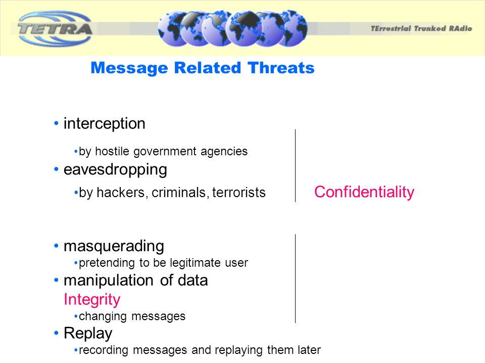 Message Related Threats interception by hostile government agencies eavesdropping by hackers, criminals, terrorists Confidentiality masquerading prete