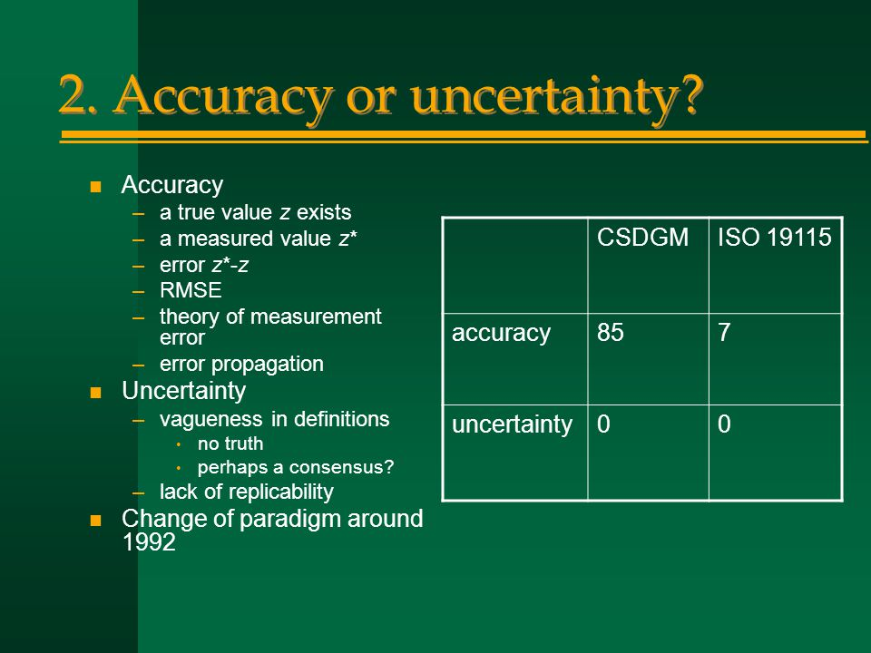 2. Accuracy or uncertainty.